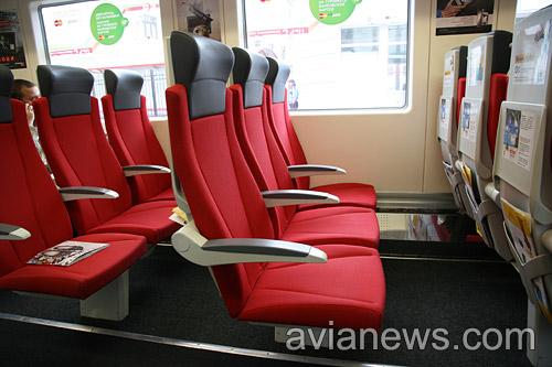 Кресла в вагоне аэроэкспресс