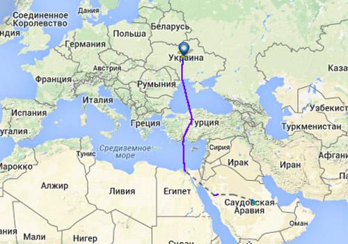 Маршрут самолета Ан-148 с Порошенко из Киева в Эр-Рияд. Скрин flightradar24