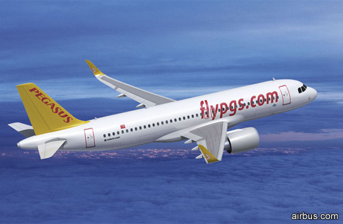 самолет Airbus A320neo авиакомпании Pegasus Airlines