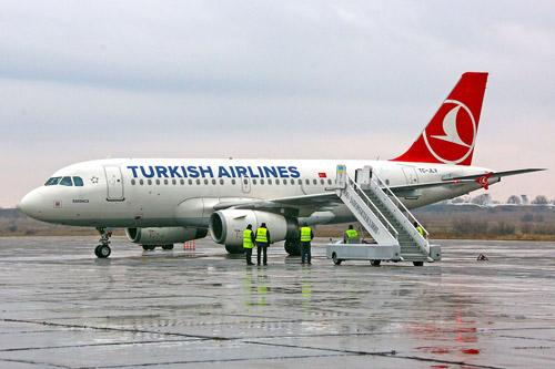Самолет Turkish Airlines в Запорожье. Первый рейс