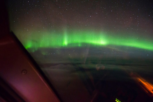 Северное сияние из самолета