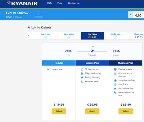 Акционные тарифы Ryanair на перелет из Львова в Краков за 19,99 евро