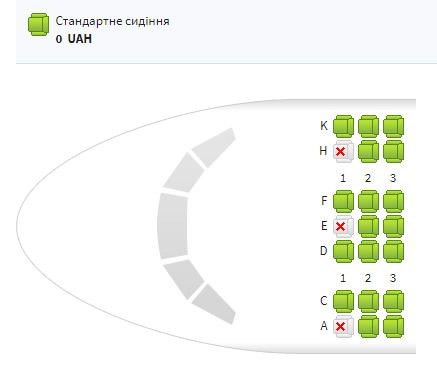 Компоновка мест в бизнес-классе на борту Boeing 777 МАУ