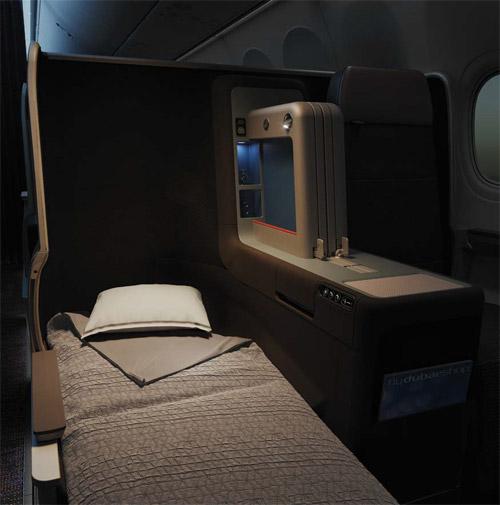 Кресло кровать в новом салоне бизнес-класса flydubai