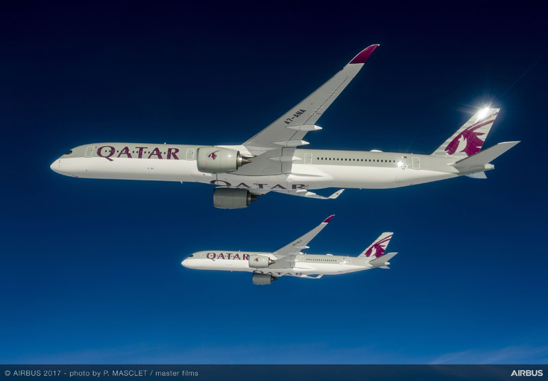 Airbus A350-1000 в ливрее Qatar Airways