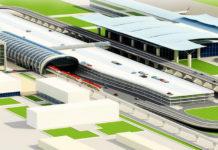 Один из проектов размещения железнодорожной станции в аэропорту Борисполь