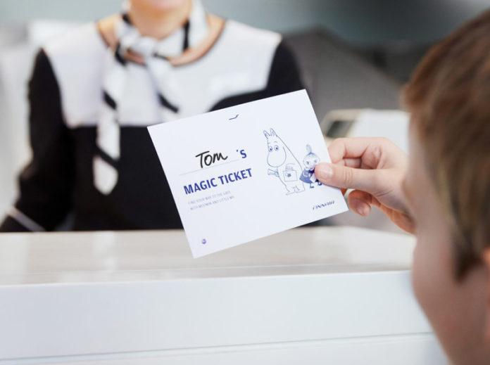 Изображение мумий-тролля на волшебном билете, который будет выдаваться маленьким пассажирам авиакомпании. Фото Finnair