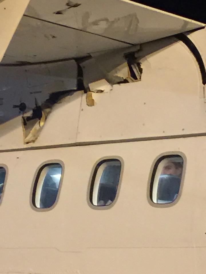 Повреждения под левой частью крыла самолета ATR 42-500 HOP!, выявленные после посадки