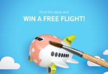 Заставка конкурса от airBaltic: раскрась самолет и получи скидку или бесплатный авиабилет