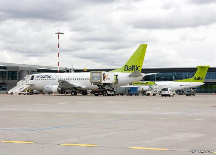 Самолеты airBaltic в аэропорту Рига