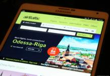 Версия сайта airBaltic на мобильном устройстве
