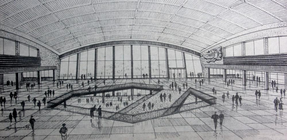Центральный зал терминала Б под куполом