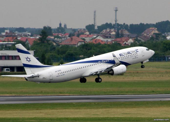 Взлет Boeing 737-800 авиакомпании El Al