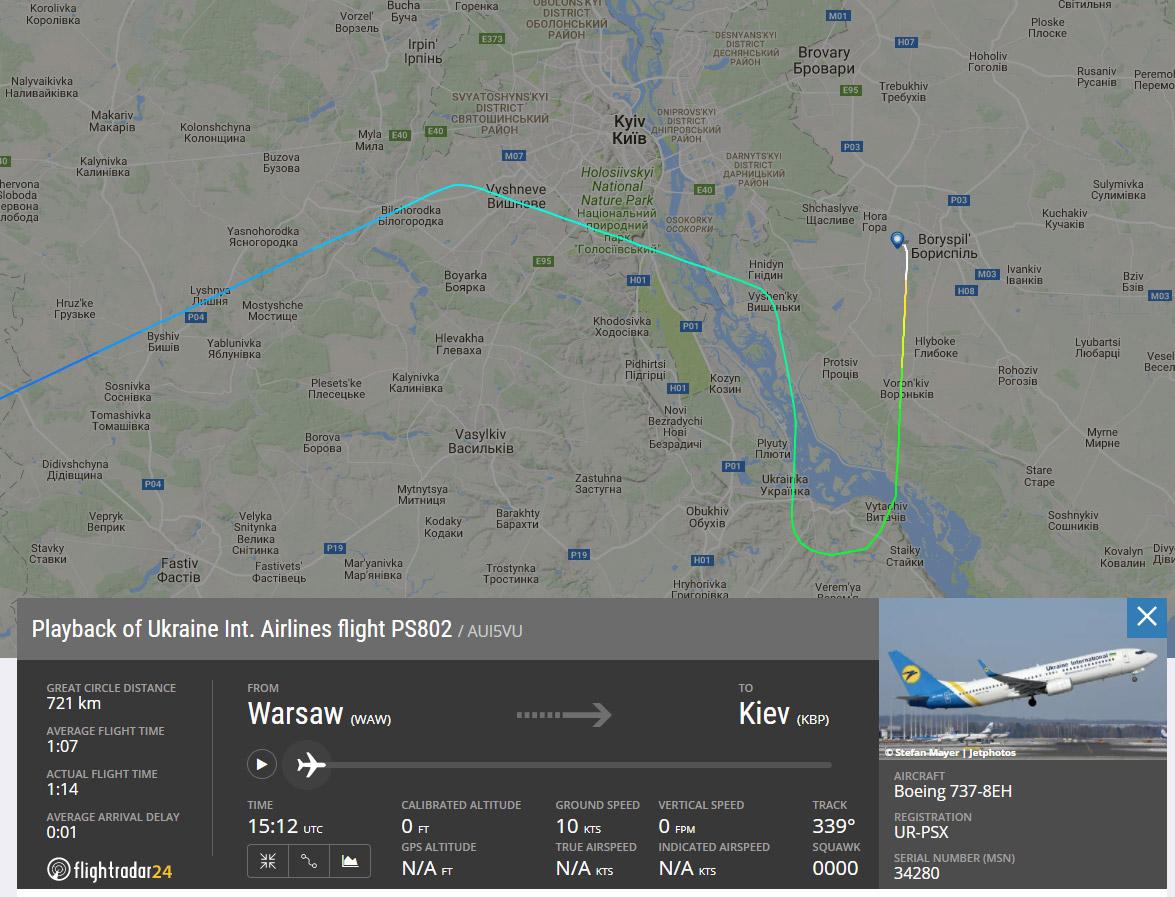 Схема захода на посадку в Борисполь
