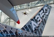Процесс осмотра самолета с использованием дрона