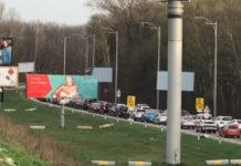 Пробка на въезде в аэропорт Борисполь