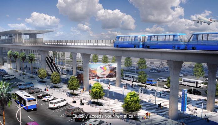 Визуализация автоматических поездов между терминалами в аэропорту Лос-Анджелеса