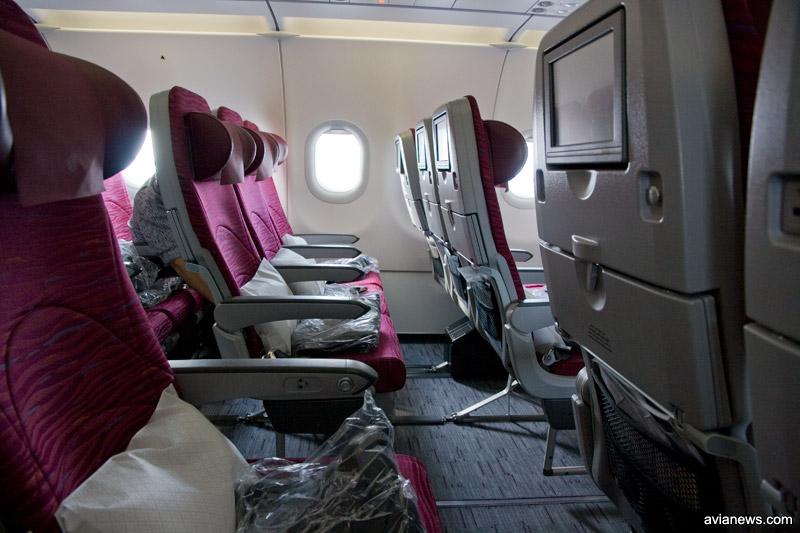 Кресла в самолете А320 в эконом-классе
