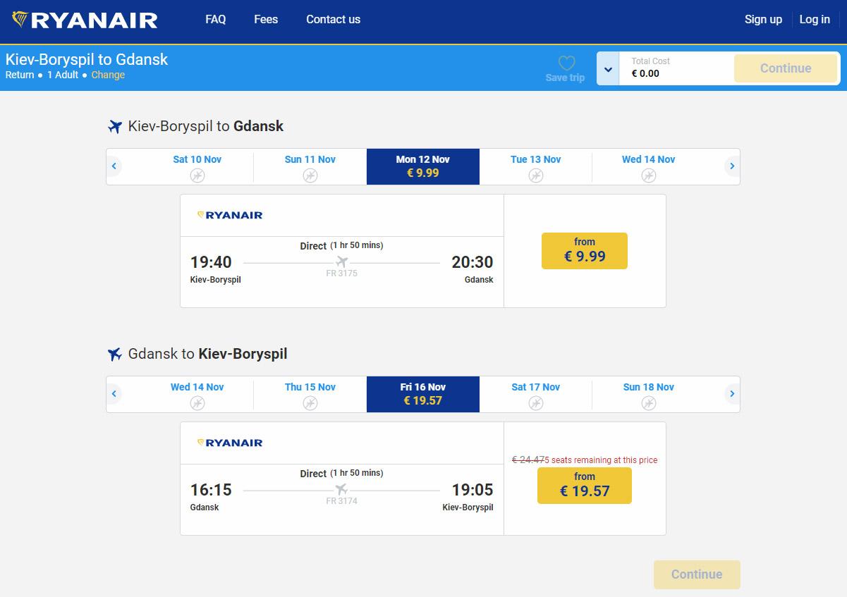 Цены на билеты Ryanair из Украины начинаются от 10 евро в одну сторону
