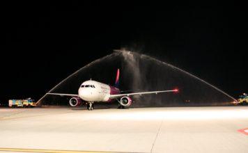 Встреча во Львове первого рейса Wizz Air из Лондона