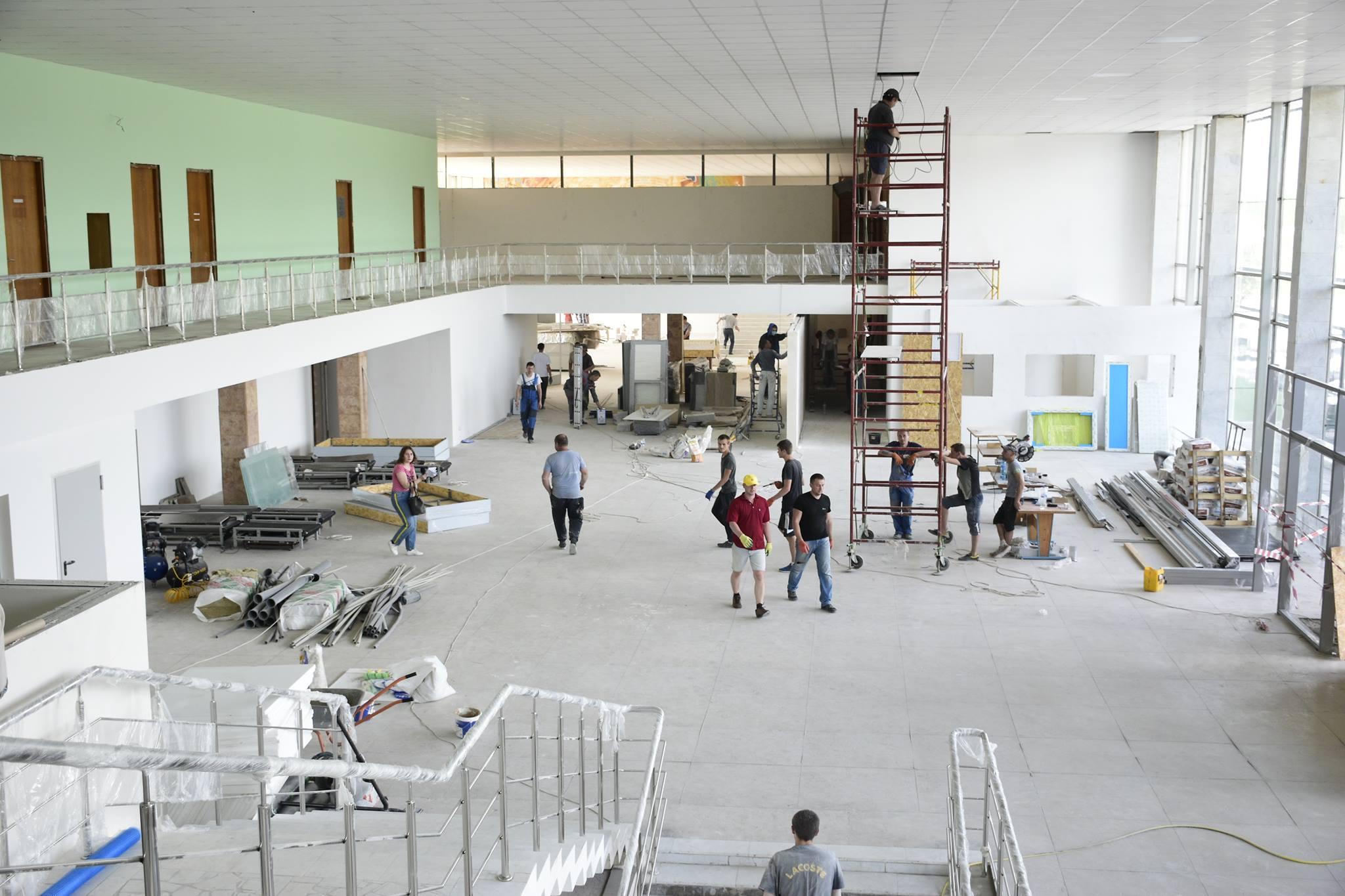 Строительные работы в терминале аэропорта Полтава по состоянию на 5 мая 2018 года