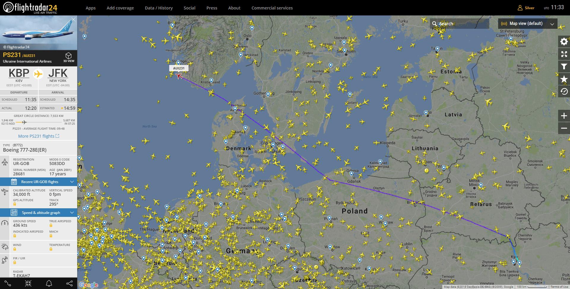 Boeing 777-200ER UR-GOB отправился в первый коммерческий рейс с пассажирами под позывными МАУ