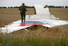 Обломок сбитого над Донецкой областью в 2014 году Boeing 777 Malaysia Airlines