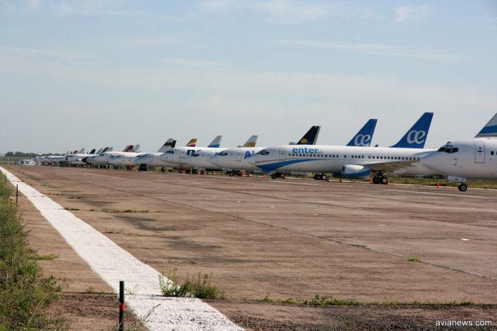Взлетно-посадочная полоса в аэропорту Борисполь, которая временно использовалась для стоянки самолетов