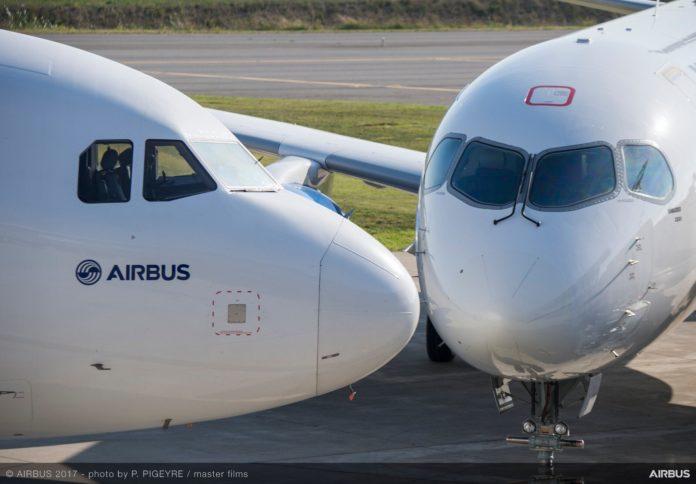 Самолеты Airbus и Bombardier рядом
