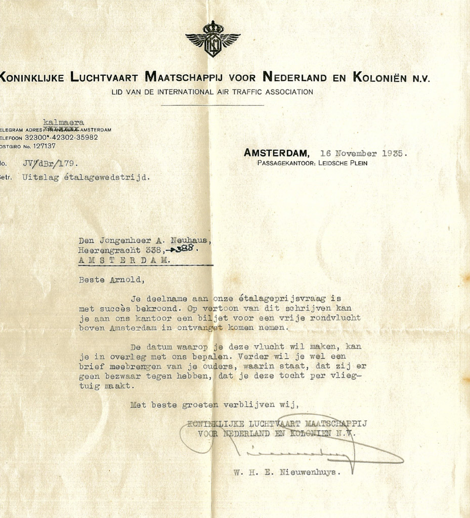 Письмо, отправленное авиакомпанией KLM Арнольду о его выигрыше в конкурсе