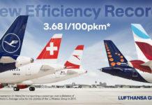 В среднем авиакомпании Lufthansa Group тратили 3,68 литра керосина для перевозки пассажира на 100 км. Данные Lufthansa