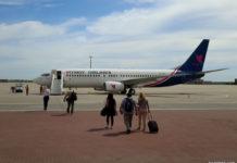 Посадка пассажиров в самолет Boeing 737-800 Myway Airlines