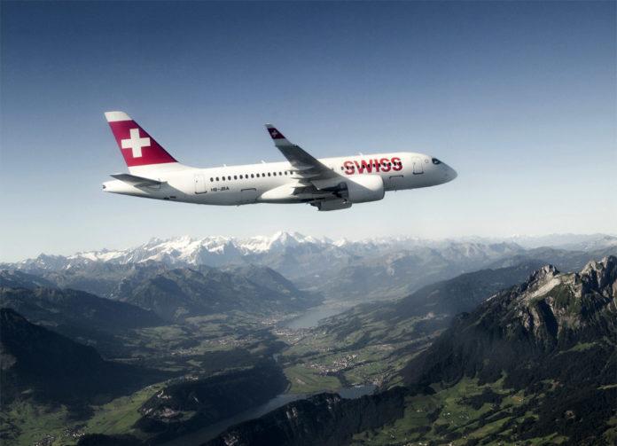 Bombardier CS100 Swiss в небе над Швейцарией