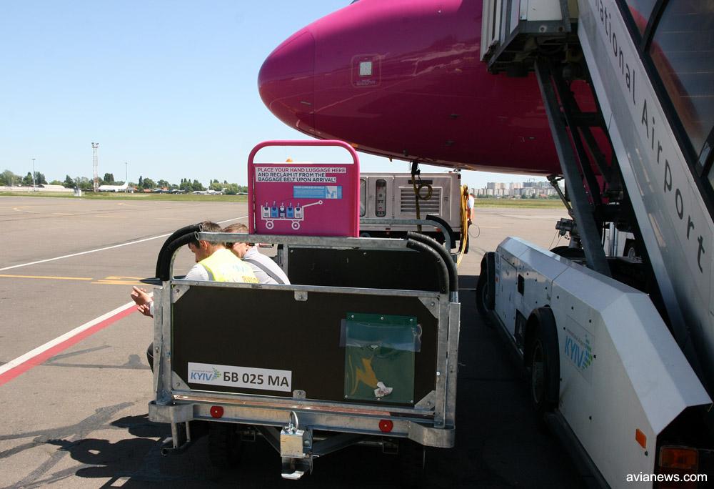 Тележка перед трапом самолета Wizz Air, на которую необходимо будет поместить ручную кладь для размещения в багажном отсеке перед посадкой в самолет. Фото: avianews.com