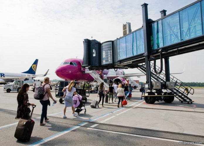 Пешая посадка пассажиров в самолет Wizz Air
