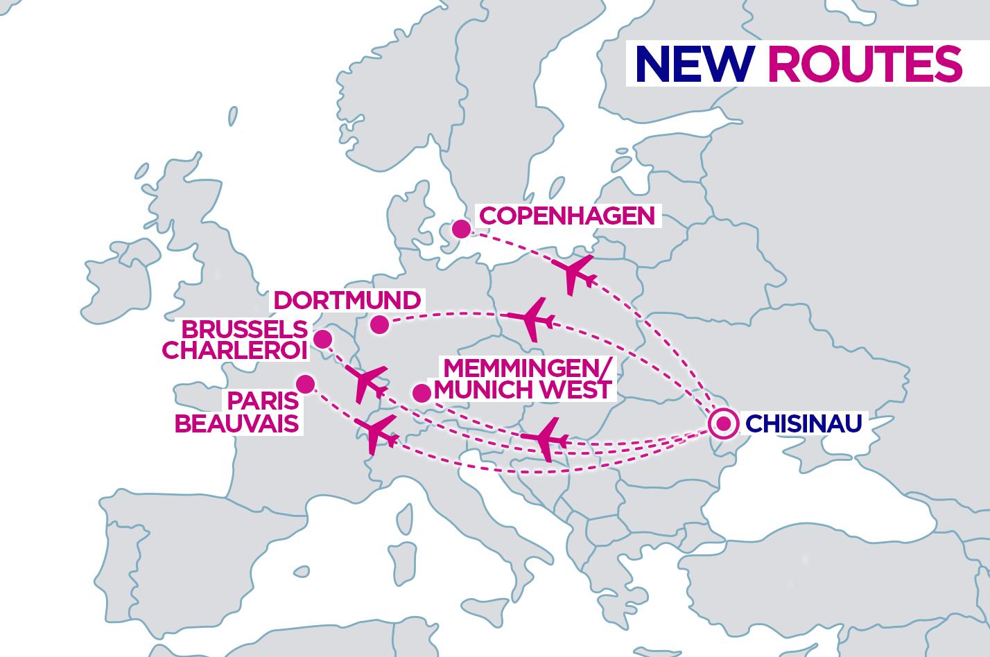 Карта новых маршрутов Wizz Air из Кишинева, опубликованная 5 июля