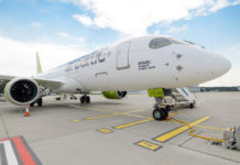 Airbus A220-300 авиакомпании airBaltic. Фото авиакомпании