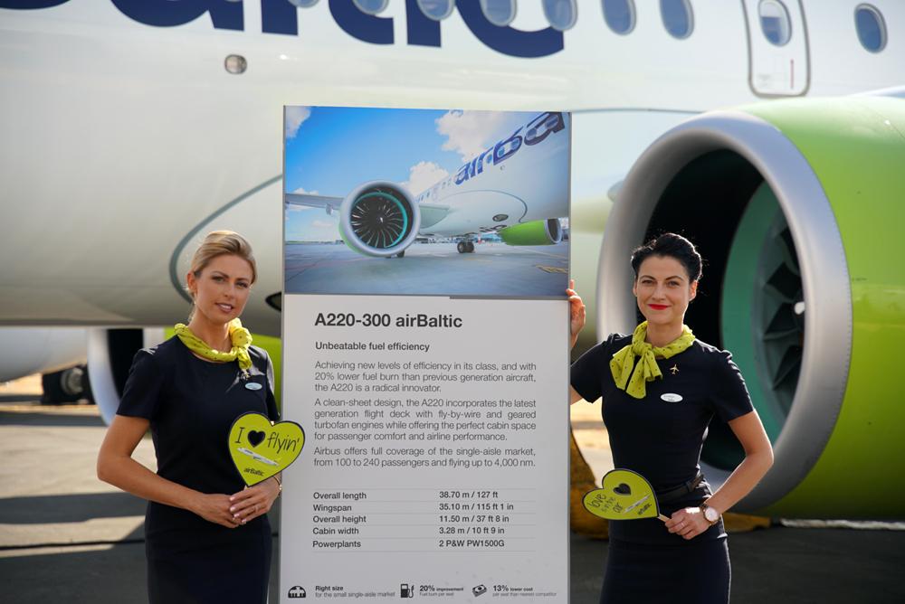 Сотрудники airBaltic на фоне стенда с характеристиками Airbus A220-300 airBaltic (Bombardier CS300) на авиасалоне в Фарнборо. Фото: airBaltic