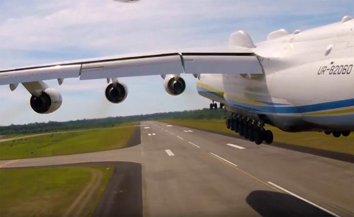 Взлет Ан-225 Мрия. Скрин из видео ГП