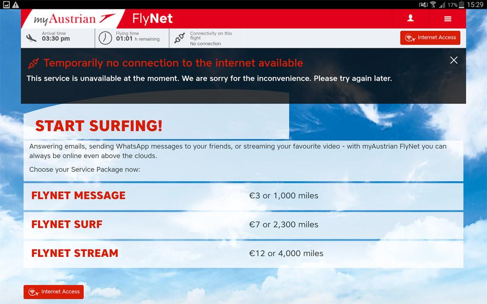 Скриншот портала Flynet с расценками на интернет на рейсах Austrian Airlines