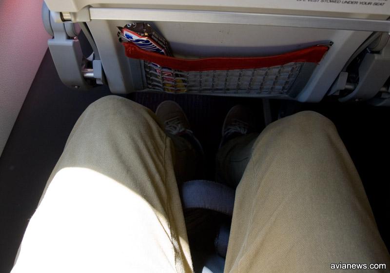 Стандартное место для ног в эконом-классе в самолетах Austrian Airlines