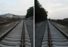 Уложенное перед терминалом D в аэропорту Борисполь железнодорожное полотно