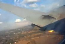 Кадр из видео из салона самолета Convair CV-340 за несколько секунд до падения