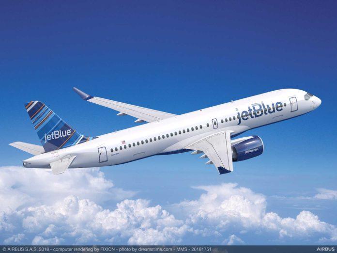 Airbus A220-300 в ливрее jetBlue
