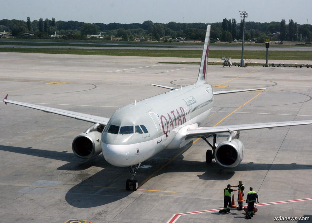 Airbus A320 Qatar Airways в аэропорту Борисполь