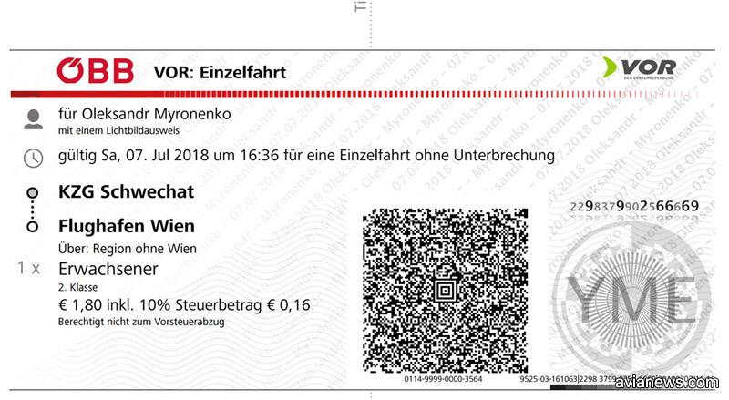 Билет на поезд из города Швехат в аэропорт Вена Швехат за 1,8 евро, купленный на сайте австрийских железных дорог OBB