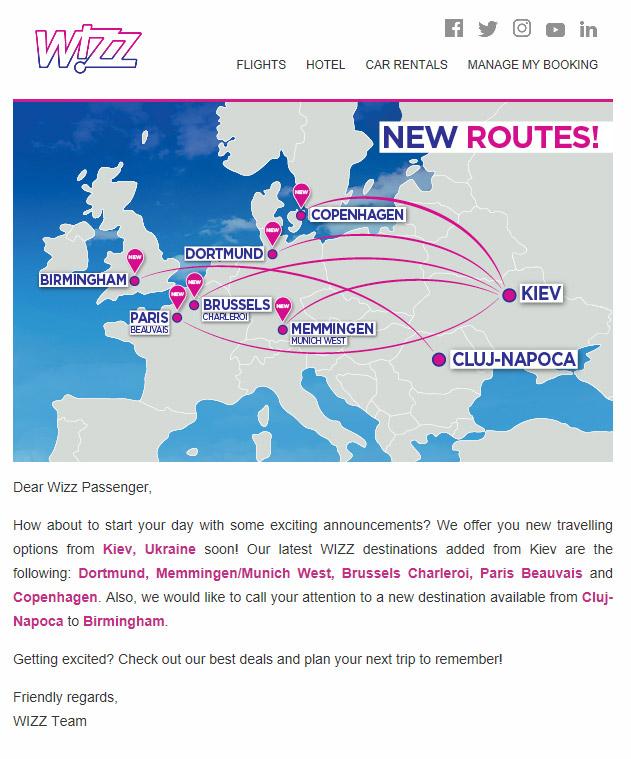 Скрин электронного письма о новых маршрутах из Киева, который Wizz Air разослал своим подписчикам