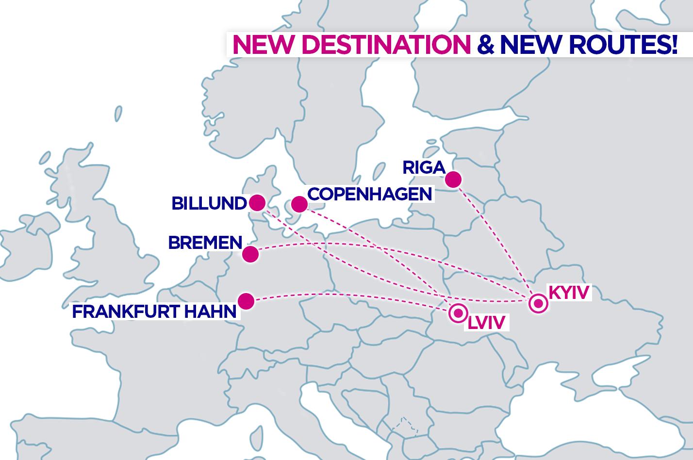 Карта новых маршрутов Wizz Air из Украины