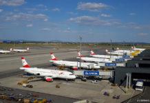 Вид на перрон с крыши терминала в аэропорту Вена