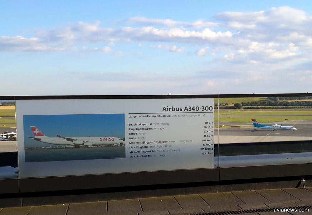 Информация о разных типах самолетов на обзорной площадке в аэропорту Вены